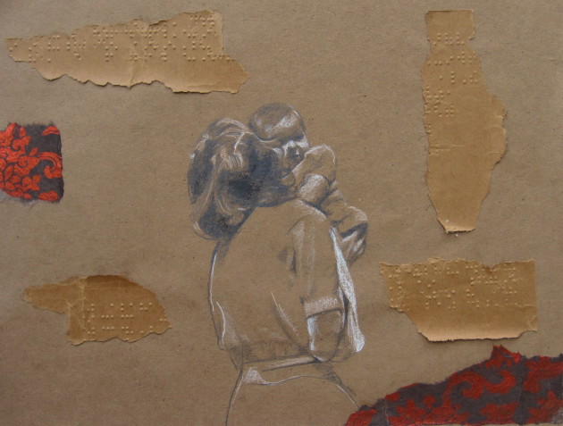 "2012, chalk, graphite, ink,  collage. 8""x 10"""